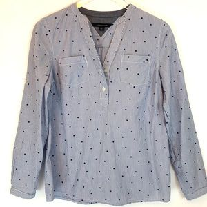 Tommy Hilfiger Blue Pin Striped Blouse with Stars